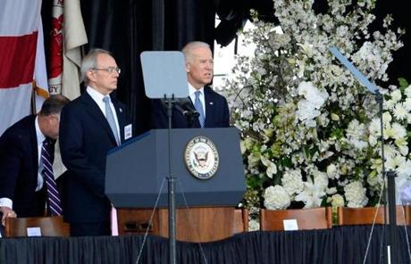 Vice President Joseph Biden delivered emotional remarks at the service.