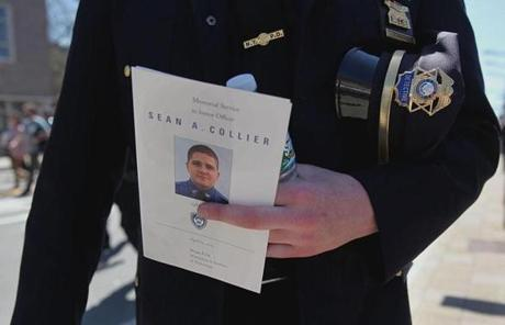 New York Police Officer Kerry Market was one of thousands who attended the memorial service.