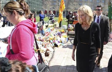 Jill Biden left flowers at the memorial.