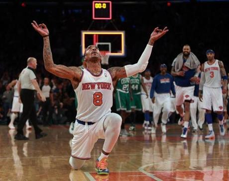 J.R. Smith rejoiced after hitting a desperation three pointer at the buzzer ending the first quarter for the Knicks.