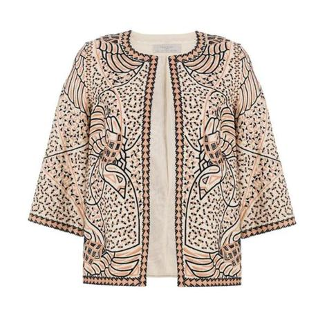 Two-tone embroidered blazer, $89.90 at Zara, 212-214 Newbury Street, Boston, 617-236-1414, and other select locations, zara.com