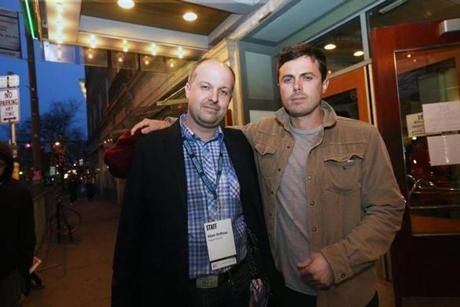 4-24-2013 Somerville, Mass. Opening of the night of the Indepdent Filmmakers Festival held at the Somerville Theatre, The first film screening ''The Way Way Back''. L. to R. are Program Director Adam Roffman with Actor Casey Affleck. Globe photo by Bill Brett