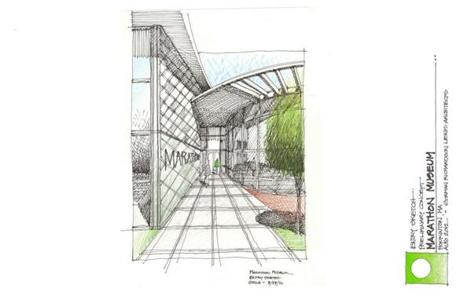 The architects' drawing of the entryway of the proposed $20 to $30 million International Marathon Center for a site on land at Legacy Farms in Hopkinton.