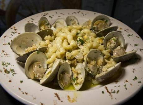Littleneck clams with garlic and olive oil over linguine from Vinny's Ristorante in Somerville.