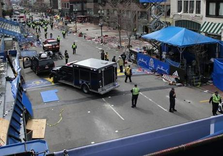 Within 20 minutes of the blasts, Boylston Street had been cleared and the wounded had been evacuated.