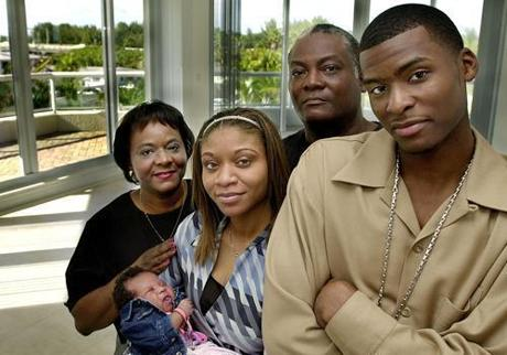 Keyon Dooling with his family while a member of his first NBA team, the Clippers.
