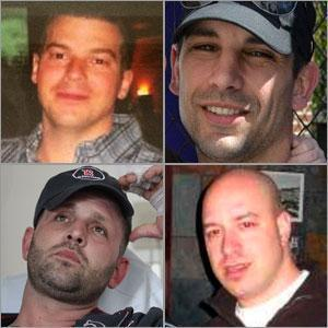 The rest of the Stoneham friends (from left, clockwise): J.P. Norden, Marc Fucarile, James Costello, and Jarrod Clowery.
