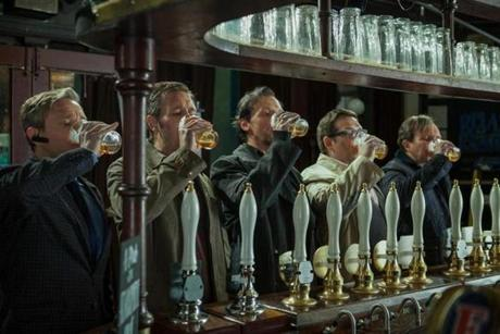 "From left: Martin Freeman, Paddy Considine, Simon Pegg, Nick Frost, Eddie Marsan  in ""The World's End."""