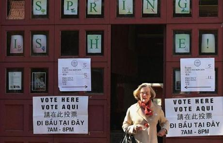 A voter departed a polling station on Beacon Hill.