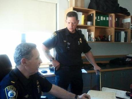 Chief Joseph Cafarelli (right) with Revere Police Lt. Carl Ruggiero.