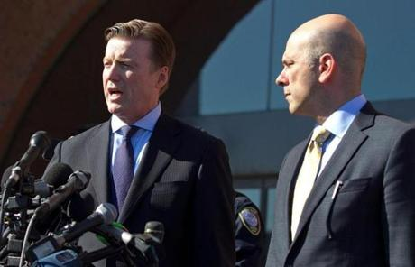 Robert G. Stahl, left, defending Dias Kadyrbayev, and Harlan J. Protass, defending Azamat Tazhayakov, spoke with the media after leaving the federal courthouse.