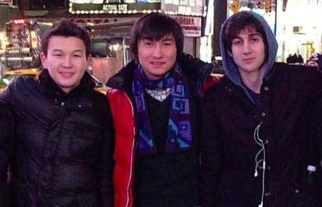 Azamat Tazhayakov, left, Dias Kadyrbayev, center, and a third person face charges of conspiring to obstruct justice and making false statements after allegedly helping bomb suspect Dzhokhar Tsarnaev, right, after the attacks.