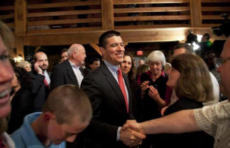 Republican US Senate nominee Gabriel Gomez shook hands with the crowd after giving his victory speech in Cohasset.