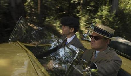 "Tobey Maguire as Nick Carraway and Leonardo DiCaprio as Jay Gatsby in ""The Great Gatsby."""