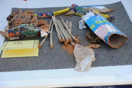 Authorities recovered a backpack, allegedly owned by Tsarnaev, that contained fireworks.