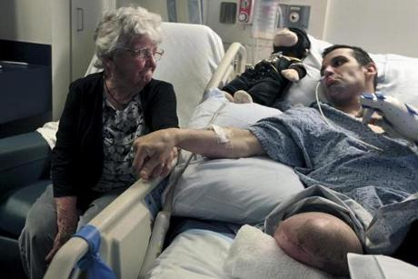 Marc Fucarile made a sad face to his grandmother ,Mabel Callahan, at Mass General Hospital. He said the hardest part was watching loved ones worry about him.