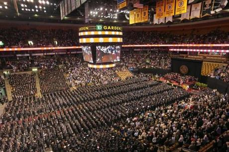 More than 20,000 students, family members, friends, faculty, and staff gathered in TD Garden to celebrate the graduating class.