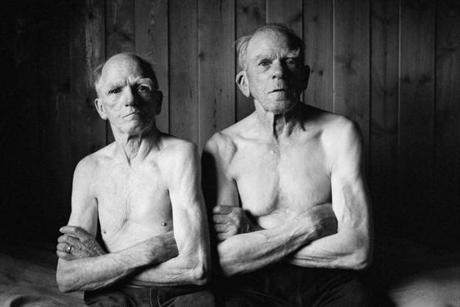"""The Brothers"" from Elin Hoyland's series of images of elderly Norwegian farmers and loggers."