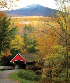 Franconia Notch Bridge in New Hampshire, one of the more popular destinations in New England.