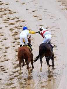 Jockey Joel Rosario (right) was congratulated by a competitor after winning the Kentucky Derby.