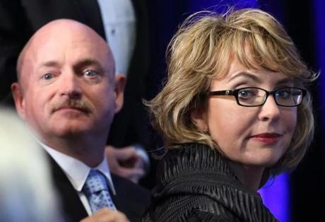 Giffords and her husband, Mark Kelly, at the ceremony.