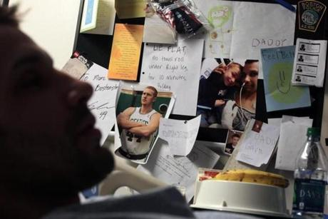 Well-wishers leaving messages on the bulletin in his hospital room ranged from his son, Gavin, to the Boston Police Department to professional atheletes.