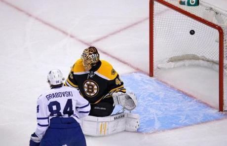The Maple Leafs' Cody Franson, not seen, scored against Tuukka Rask in the second period as Mikhail Grabovski watched.