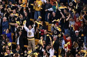 Bruins fans had plenty to cheer about late in the third period and OT. Here they react to Patrice Bergeron's tying goal.