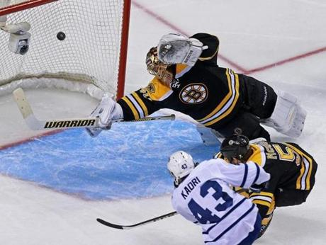 Toronto's Nazem Kadri beat Bruins goalie Tuukka Rask and defenseman Adam McQuaid in the third period to put the Maple Leafs ahead 4-1 at TD Garden.