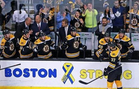 Patrice Bergeron skated past teammates and fans after he tied the game with less than a minute remaining in regulation.