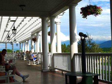 The porch at the Mountain View Grand in Whitefield, N.H., certainly lives up to the inn's name.