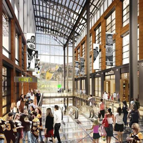 This rendering depicts a concourse inside the retail portion of the complex that Delaware North Cos. and Boston Properties propose to build in front of TD Garden.