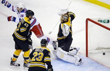The Rangers' Derick Brassard slipped one past Tuukka Rask as New York took a 2-1 lead.