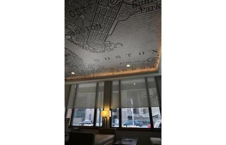 A map of Boston circa 1860 was featured on the lobby ceiling,