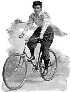 When she decided to resume her trip, Kopchovsky took up a lighter-weight Sterling bicycle and wore bloomers.