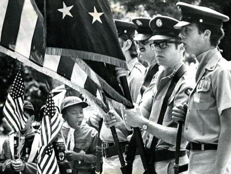 May 26, 1975:  A Cub Scout from Dorchester Pack 2 couldn't hold back his yawn at Cedar Grove Memorial Day Services.