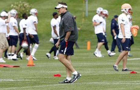 Head coach Bill Belichick, beginning his 14th season in New England, oversaw the practice.