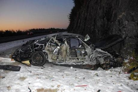 Lieutenant Governor Timothy P. Murray's car after a 2011 accident on Interstate 190.