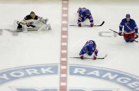 Boston Bruins goalie Tuukka Rask (40) and the Bruins prepared to take on the New York Rangers in Game 4 of the Eastern Conference Semi Finals at Madison Square Garden in New York.