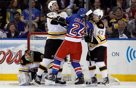 Adam McQuaid gave the Rangers' Ryan Callahan a cross-check.