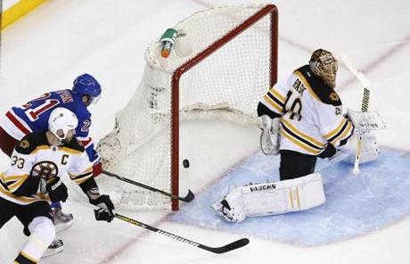 Derek Stepan stole the puck from Bruins defenseman Zdeno Chara and scored past goalie Tuukka Rask in the third period.