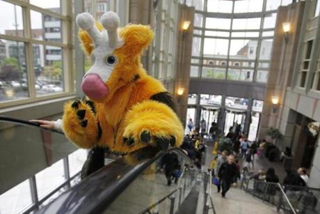 Melikka Budnick, dressed as Pokemon character Girafarig, went to the Shops at the Prudential Center.