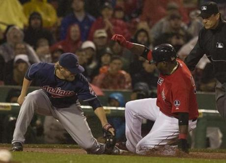 David Ortiz advanced to third on a fly to right, beating the tag of Mark Reynolds.