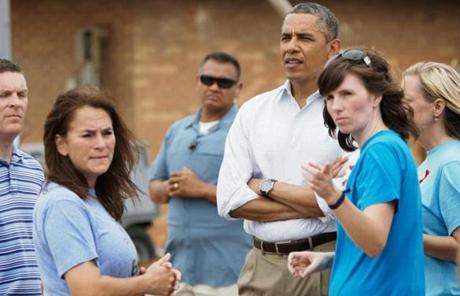 Obama spoke with teachers in Moore, Okla.