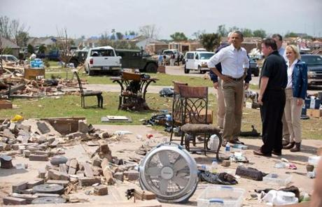 President Obama viewed damaged homes with Glenn Lewis, in black shirt, the mayor of Moore, Okla.