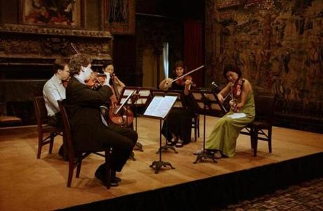 0208_classicalA1. The Borromeo String Quartet plays in the Tapestry Room at the Isabella Stewart Gardner Museum. Library Tag 02082007 Calendar 15gardnermusic