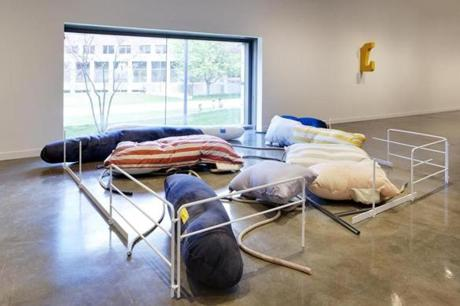 "Nairy Baghramian's ""Fluffing the Pillows"" comprises works that echo forms you might see in an industrial shipyard."