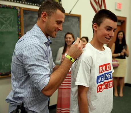 Andover, Ma 05/28/2013 Boston Red Sox third baseman Will Middlebrooks (cq) visited students at the West Middle Schooll in Andover. The School was the Wild Card Winners in the Jimmy Fund's 2013 Rally Against Cancer. Logan Bravo (cq) age 13 who is a 8th grader at the school gets his shirt autographed. ( Jonathan.Wiggs )Topic:Section:Reporter: Topic: Reporter: