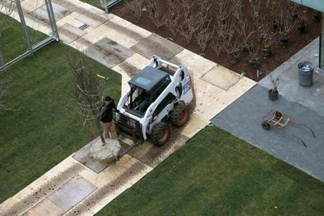 BOSTON, MA. 12/ 14/ 2011:Trees brought into the courtyard at The Gardner Museum's new wing. ( David L Ryan / Globe Staff Photo ) SECTION :ARTS TOPIC :GARDNERMUSEUM REPORTER