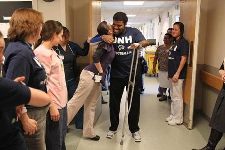 With plenty of encouragement from nurses and therapists who lined the hallway to hug and kiss him, he left Spaulding Rehabilitation Hospital in February 2012 for his new life in an apartment in Quincy.